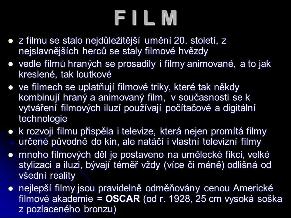 DRUHY FILMU 1) Hraný – bývají obvykle natáčeny podle předem připraveného scénáře, který přesně vymezuje celý děj filmu, někdy považován za zvláštní typ nejevištní audiovizuální formy divadla, základní filmové žánry se dělí podle tématu 2) Dokumentární - hlavním cílem je zprostředkování a dokumentace skutečnosti, užívá specifických technik natáčení – snímání volnou kamerou z ruky, skrytou kamerou, kontaktního snímání zvuku, improvizované reakce na probíhající událost 3) Animovaný – může být kreslený (králem je Walt Disney) nebo loutkový, od konce 20.