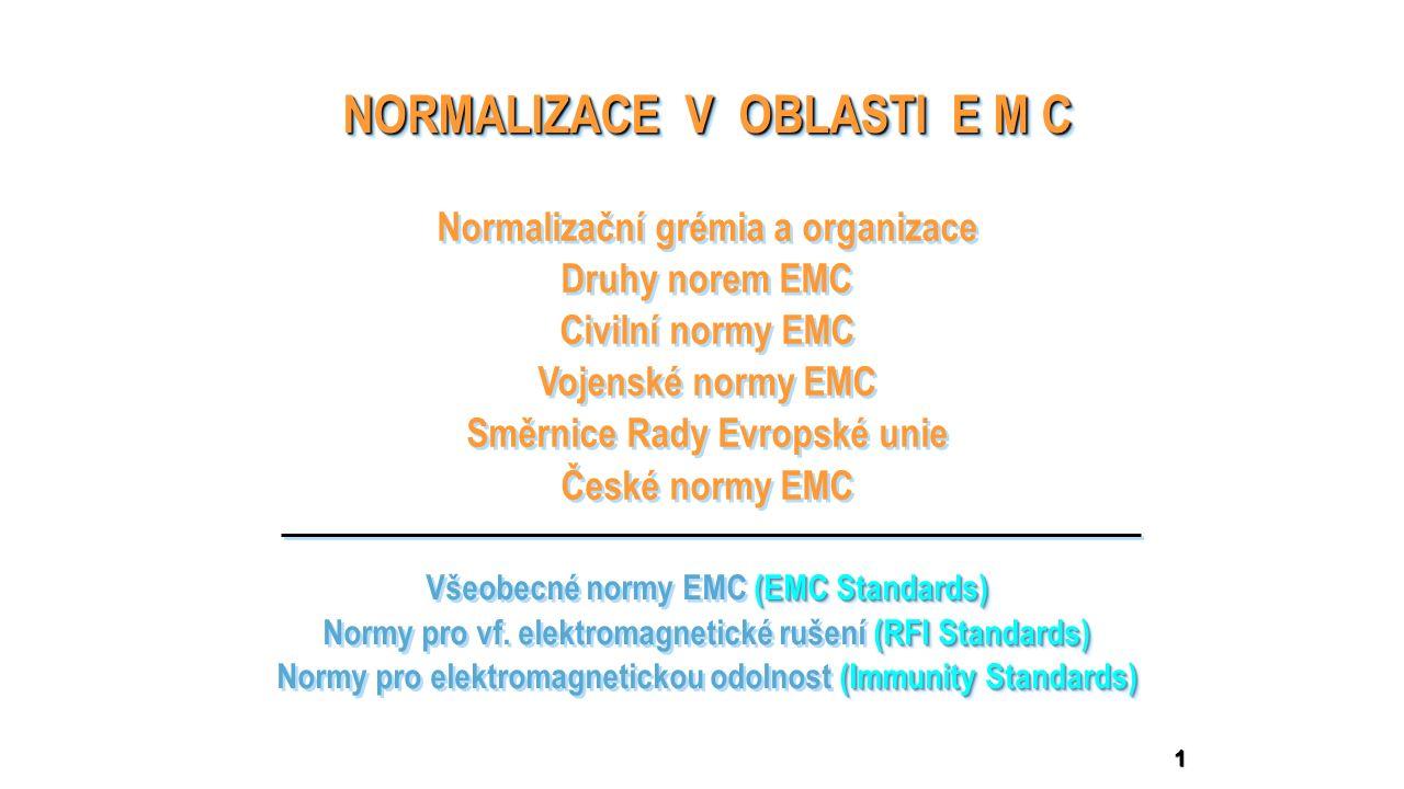 12 závazné (Mandatory Standards) závazné (Mandatory Standards) doporučené (Voluntary Standards) doporučené (Voluntary Standards) Civilní normy EMC     mají charakter zákona mají charakter doporučení  Směrnice Rady Evropské unie č.