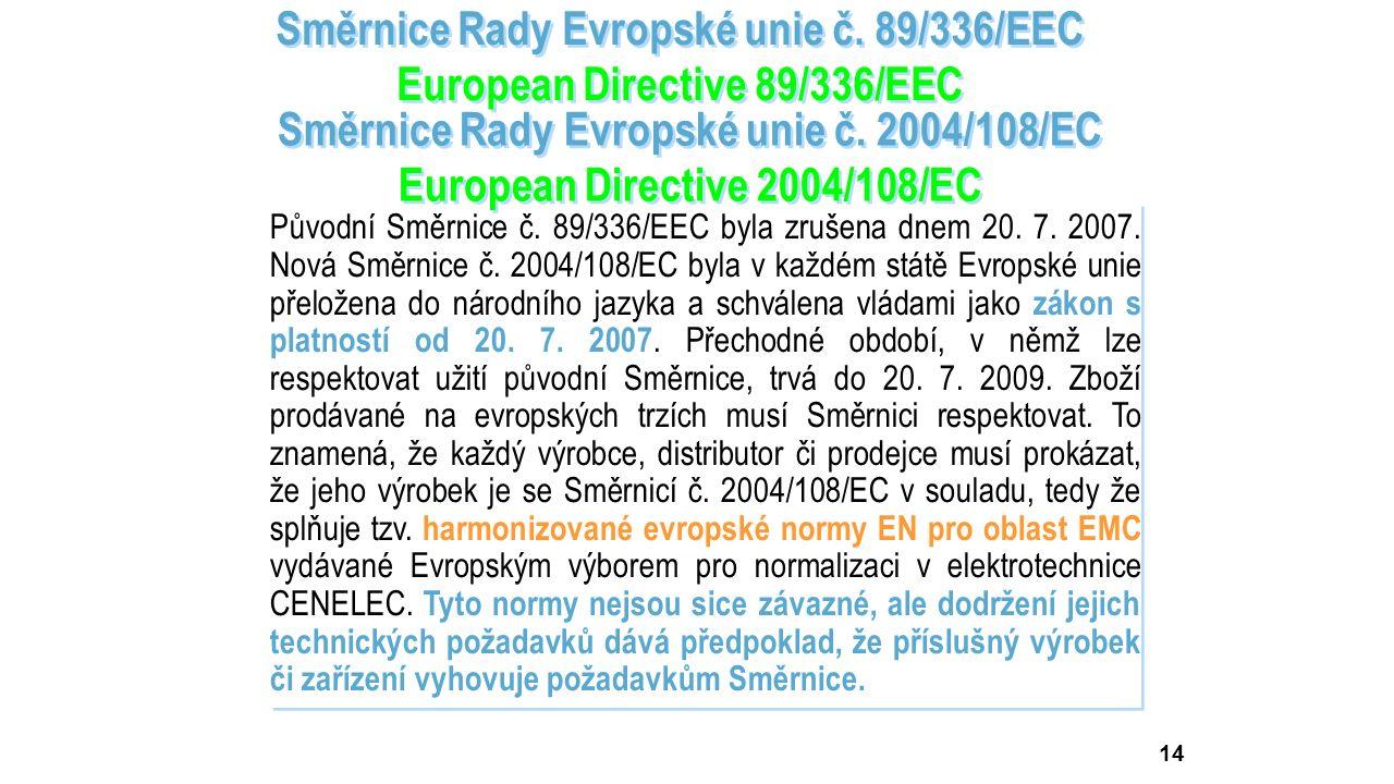Směrnice byla v průběhu let upřesňována dalšími směrnicemi Rady Evropské unie 91/263/EEC, 92/31/EEC, 93/68/EEC, 93/97/EEC a později nahrazena novou sm