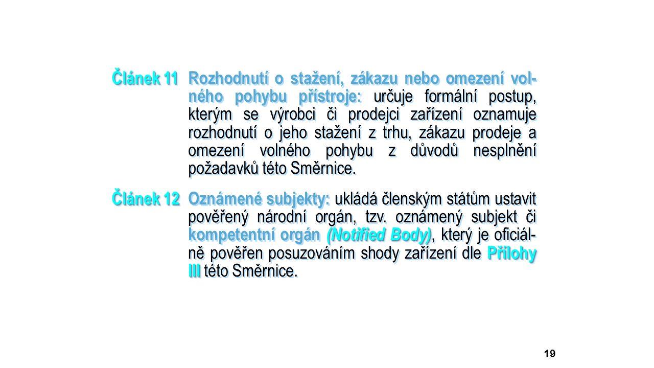 19 Článek 11 Článek 11Rozhodnutí o stažení, zákazu nebo omezení vol- ného pohybu přístroje: určuje formální postup, kterým se výrobci či prodejci zaří