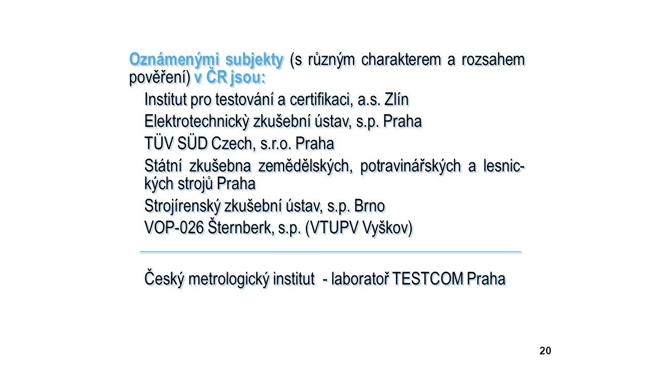 20 Oznámenými subjekty (s různým charakterem a rozsahem pověření) v ČR jsou: Institut pro testování a certifikaci, a.s.
