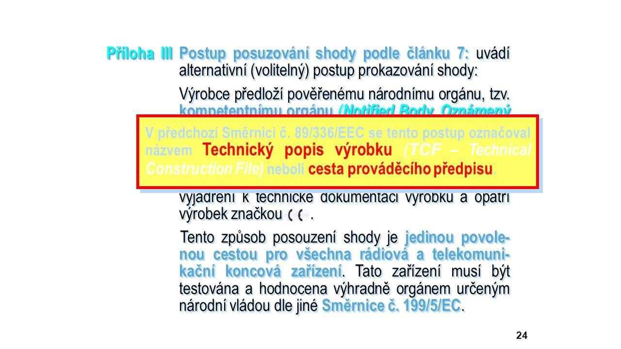 24 Příloha III Příloha IIIPostup posuzování shody podle článku 7: uvádí alternativní (volitelný) postup prokazování shody: Notified Body, Oznámený subjekt) Výrobce předloží pověřenému národnímu orgánu, tzv.