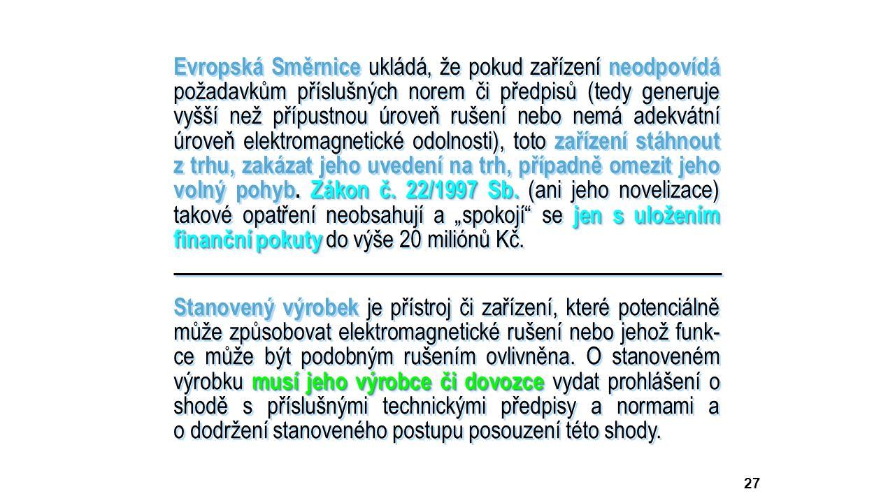 27 Zákon č. 22/1997 Sb. jen s uložením finanční pokuty Evropská Směrnice ukládá, že pokud zařízení neodpovídá požadavkům příslušných norem či předpisů