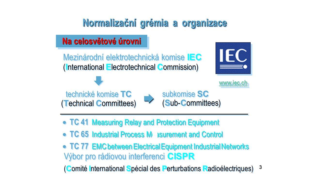 3 Normalizační grémia a organizace Na celosvětové úrovni Mezinárodní elektrotechnická komise IEC ( I nternational E lectrotechnical C ommission) Mezin
