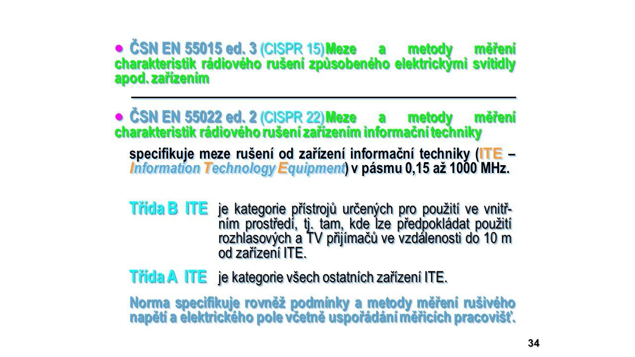 34  ČSN EN 55015 ed. 3 (CISPR 15) Meze a metody měření charakteristik rádiového rušení způsobeného elektrickými svítidly apod. zařízením  ČSN EN 550