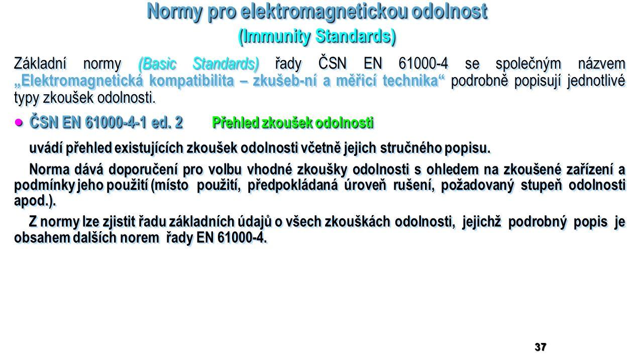 Normy pro elektromagnetickou odolnost (Immunity Standards) Normy pro elektromagnetickou odolnost (Immunity Standards) 37 (Basic Standards) Základní no