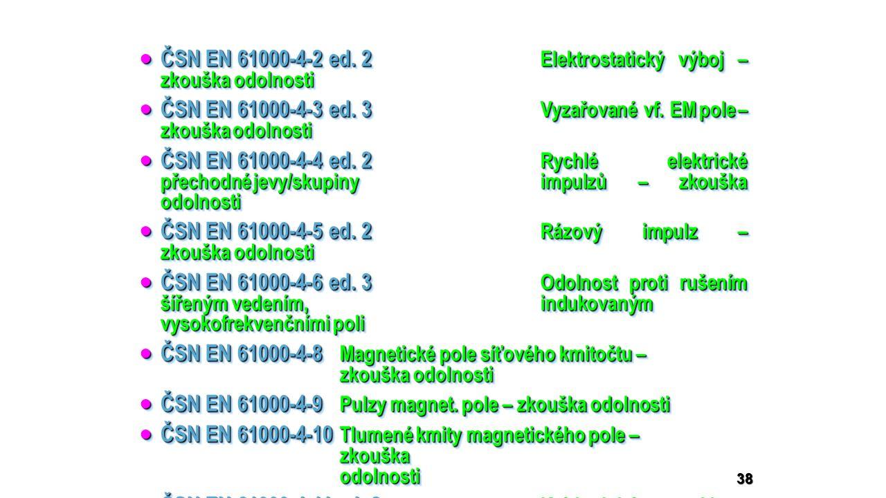  ČSN EN 61000-4-2 ed. 2 Elektrostatický výboj – zkouška odolnosti  ČSN EN 61000-4-3 ed. 3 Vyzařované vf. EM pole – zkouška odolnosti  ČSN EN 61000-