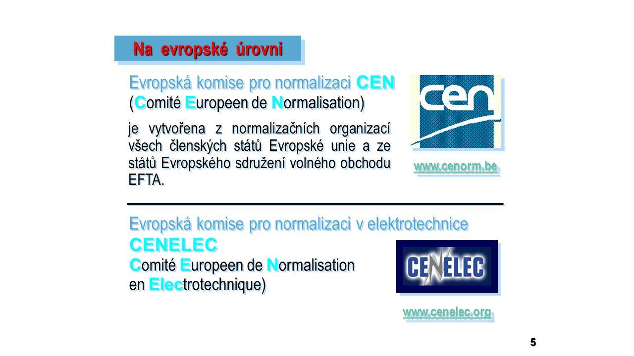 5 Na evropské úrovni Evropská komise pro normalizaci CEN ( C omité E uropeen de N ormalisation) Evropská komise pro normalizaci CEN ( C omité E uropeen de N ormalisation) www.cenorm.be je vytvořena z normalizačních organizací všech členských států Evropské unie a ze států Evropského sdružení volného obchodu EFTA.