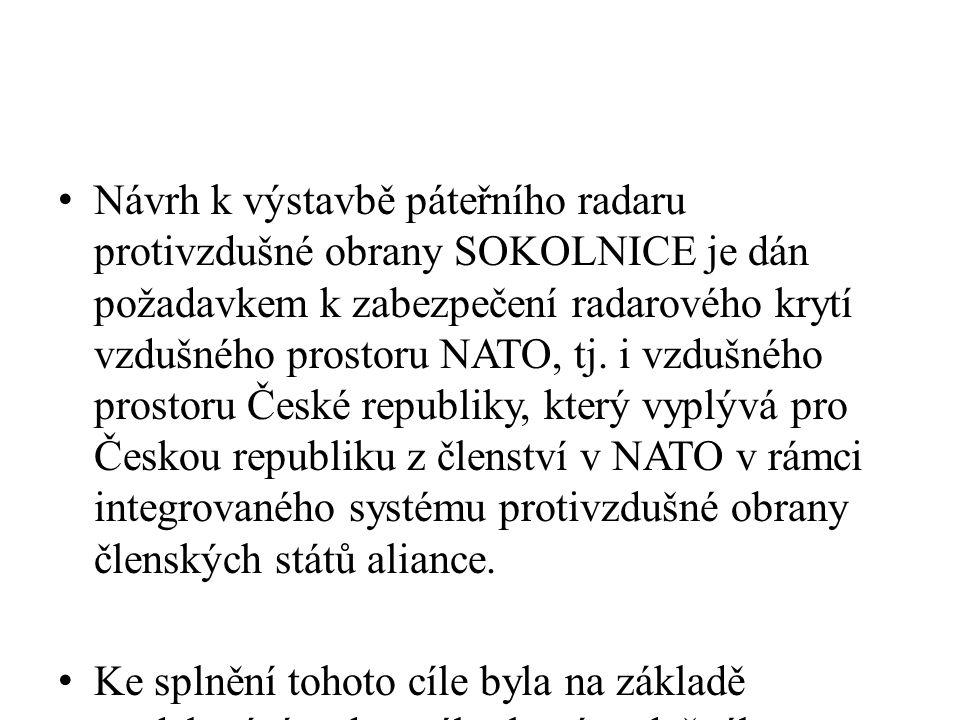 Návrh k výstavbě páteřního radaru protivzdušné obrany SOKOLNICE je dán požadavkem k zabezpečení radarového krytí vzdušného prostoru NATO, tj.
