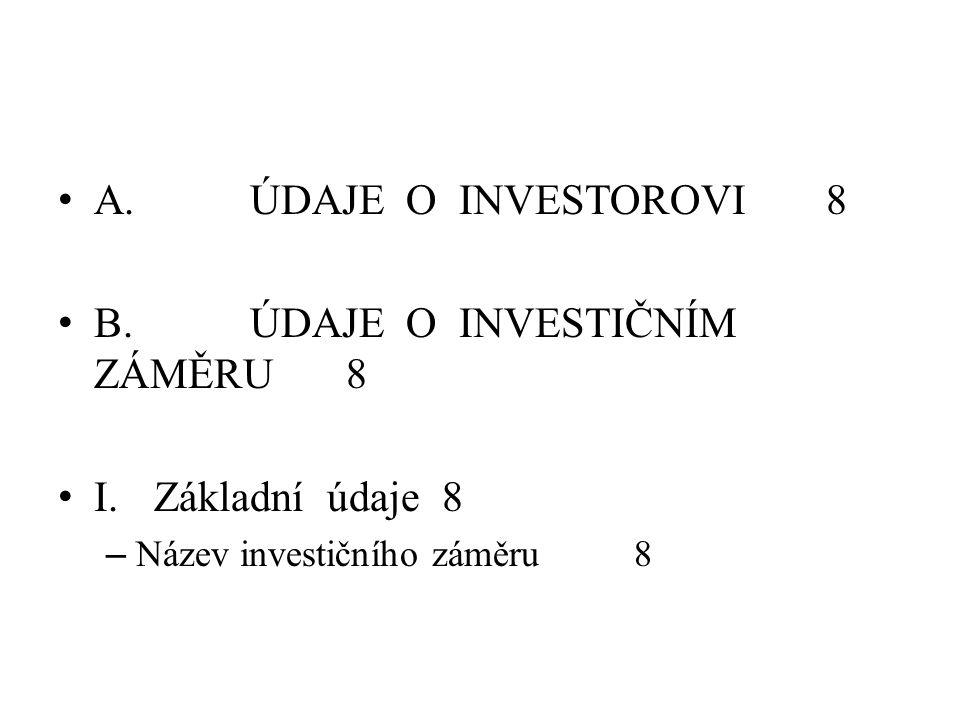 A. ÚDAJE O INVESTOROVI8 B. ÚDAJE O INVESTIČNÍM ZÁMĚRU8 I.