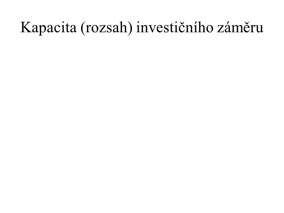 Kapacita (rozsah) investičního záměru