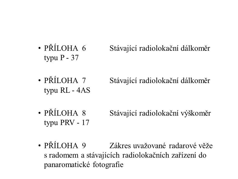 PŘÍLOHA 6Stávající radiolokační dálkoměr typu P - 37 PŘÍLOHA 7Stávající radiolokační dálkoměr typu RL - 4AS PŘÍLOHA 8Stávající radiolokační výškoměr typu PRV - 17 PŘÍLOHA 9Zákres uvažované radarové věže s radomem a stávajících radiolokačních zařízení do panaromatické fotografie PŘÍLOHA 10Nadregionální a regionální ÚSES PŘÍLOHA 11ÚSES