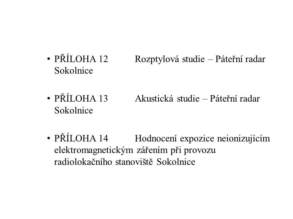 PŘÍLOHA 12Rozptylová studie – Páteřní radar Sokolnice PŘÍLOHA 13Akustická studie – Páteřní radar Sokolnice PŘÍLOHA 14Hodnocení expozice neionizujícím elektromagnetickým zářením při provozu radiolokačního stanoviště Sokolnice