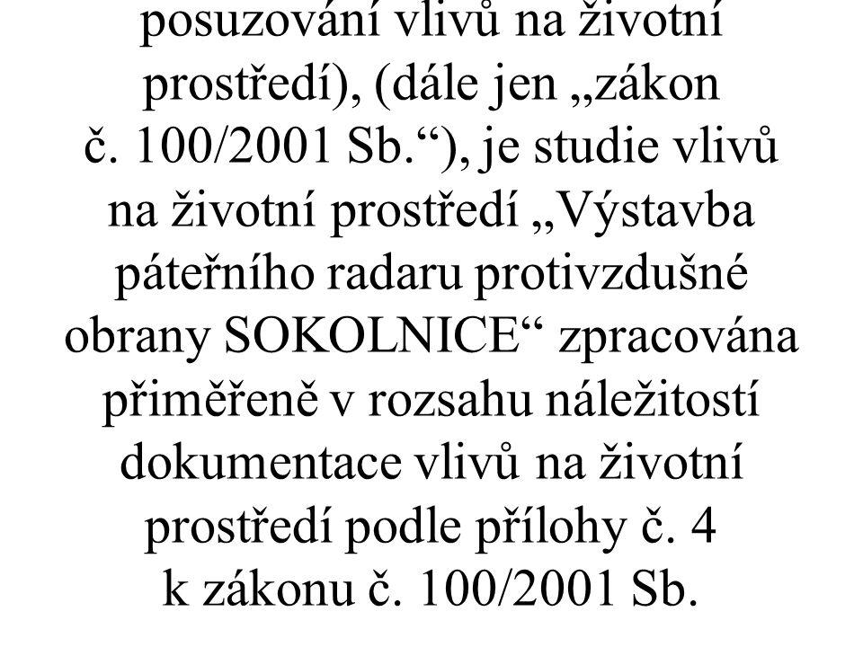 Bez ohledu na skutečnost, že předmětný investiční záměr nepodléhá posuzování podle zákona č.