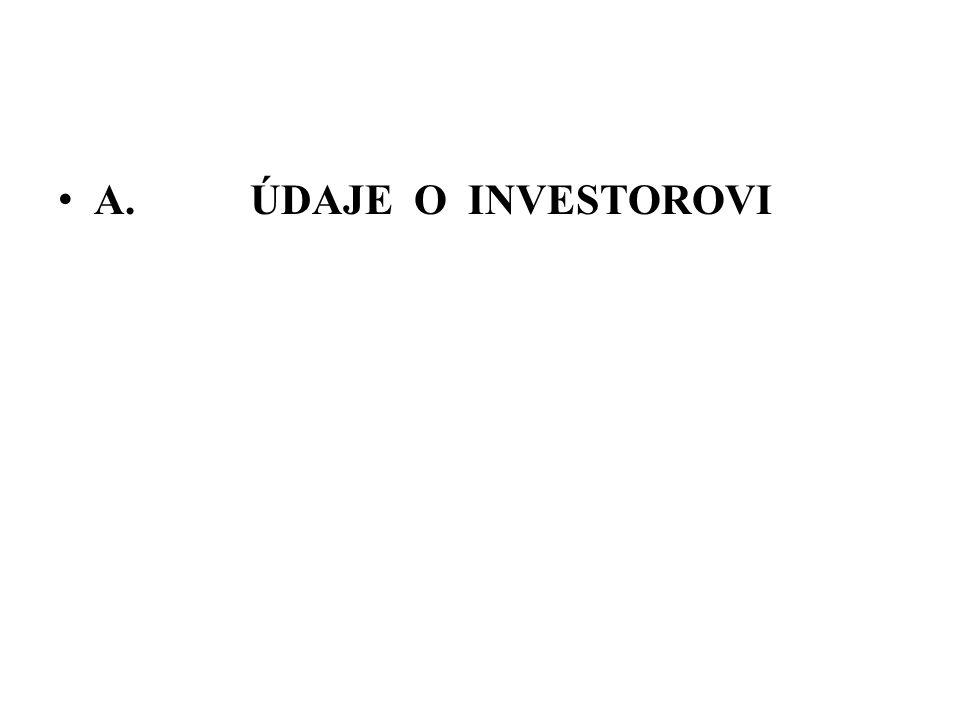 A. ÚDAJE O INVESTOROVI