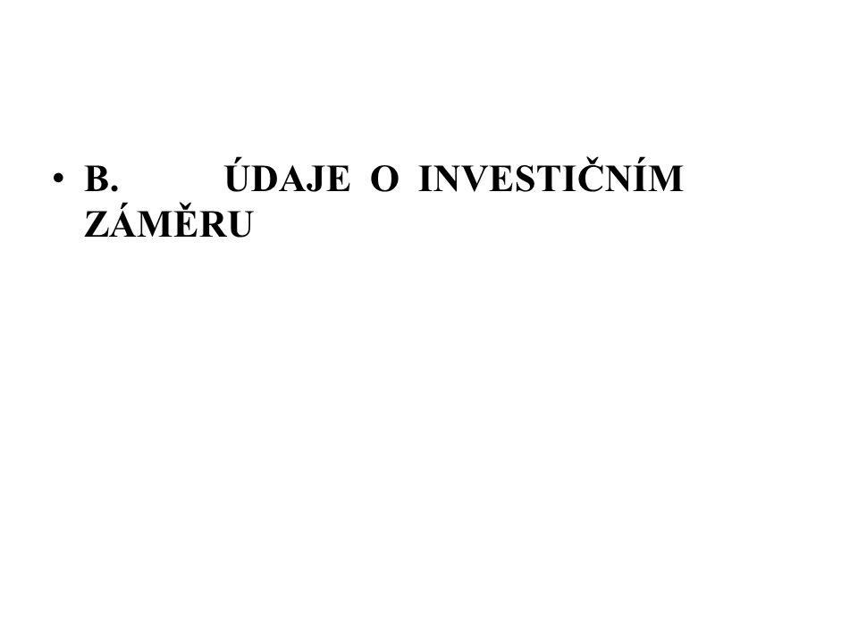 B. ÚDAJE O INVESTIČNÍM ZÁMĚRU
