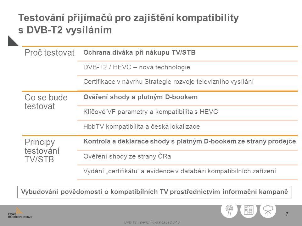 7 Testování přijímačů pro zajištění kompatibility s DVB-T2 vysíláním Proč testovat Ochrana diváka při nákupu TV/STB DVB-T2 / HEVC – nová technologie C