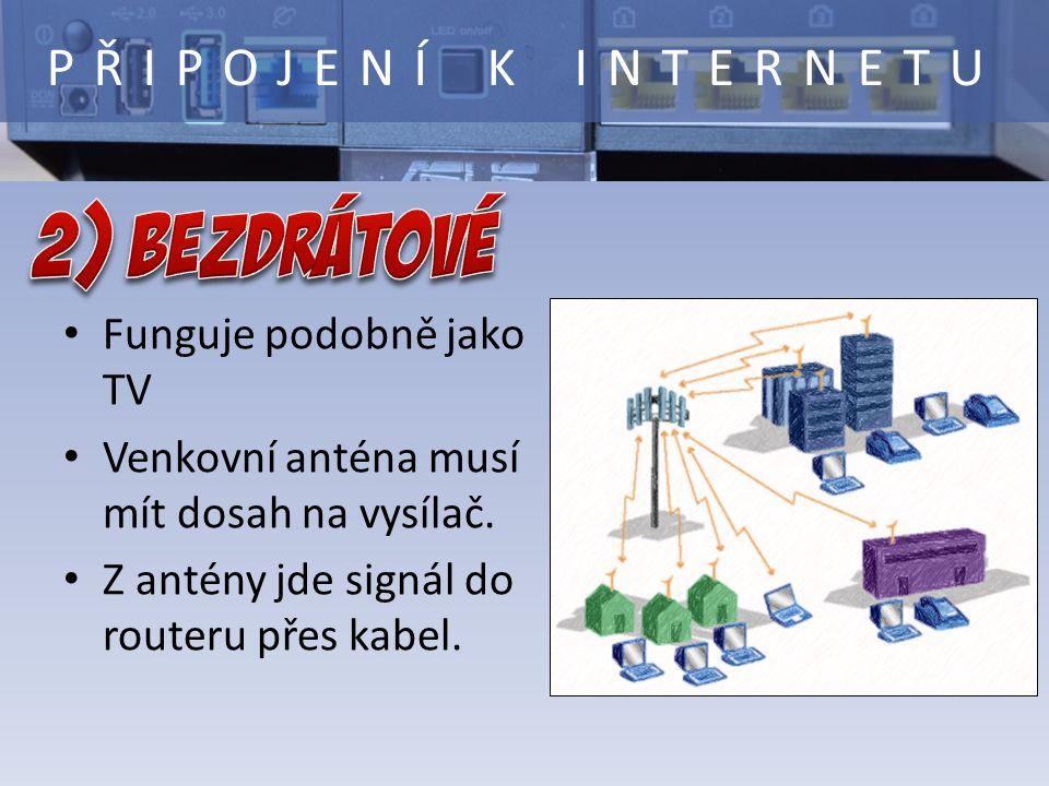 PŘIPOJENÍ K INTERNETU Funguje podobně jako TV Venkovní anténa musí mít dosah na vysílač. Z antény jde signál do routeru přes kabel.