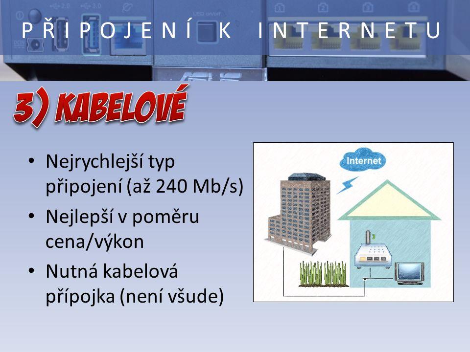 Nejrychlejší typ připojení (až 240 Mb/s) Nejlepší v poměru cena/výkon Nutná kabelová přípojka (není všude) PŘIPOJENÍ K INTERNETU