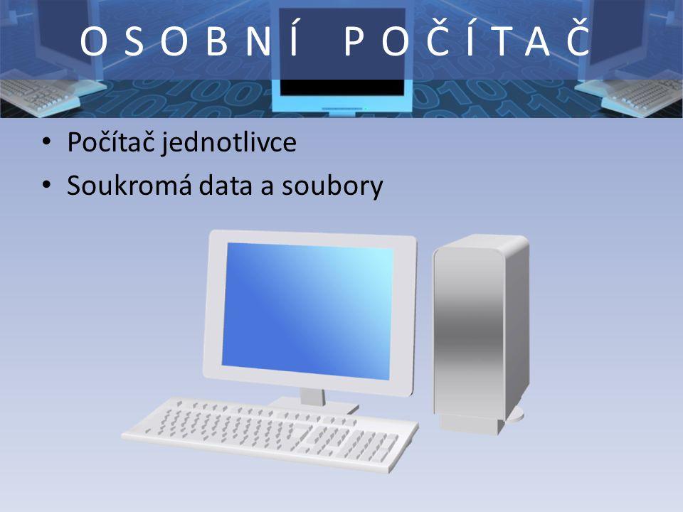 OSOBNÍ POČÍTAČ Počítač jednotlivce Soukromá data a soubory