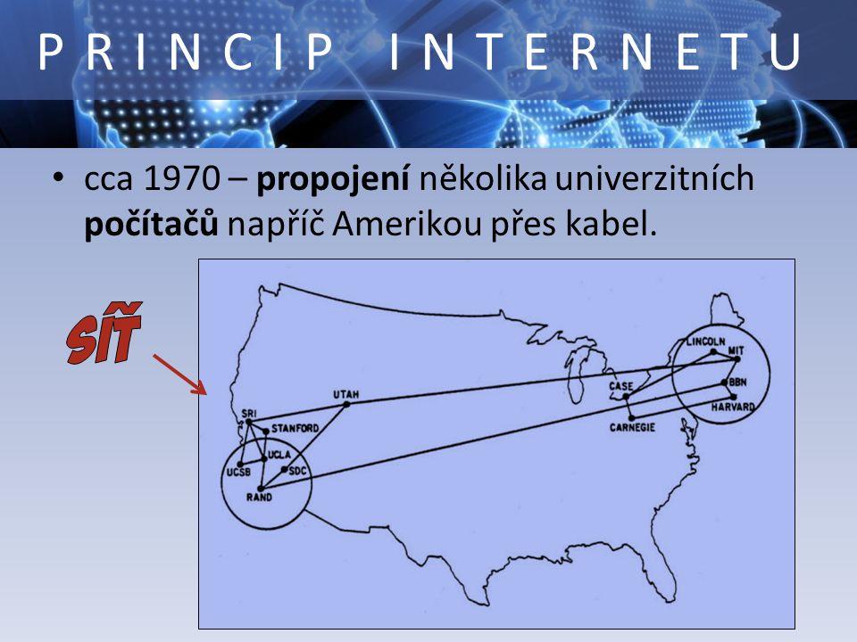 cca 1970 – propojení několika univerzitních počítačů napříč Amerikou přes kabel. PRINCIP INTERNETU