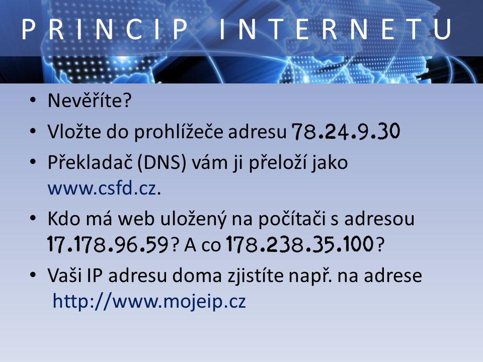 Nevěříte? Vložte do prohlížeče adresu 78.24.9.30 Překladač (DNS) vám ji přeloží jako www.csfd.cz. Kdo má web uložený na počítači s adresou 17.178.96.5