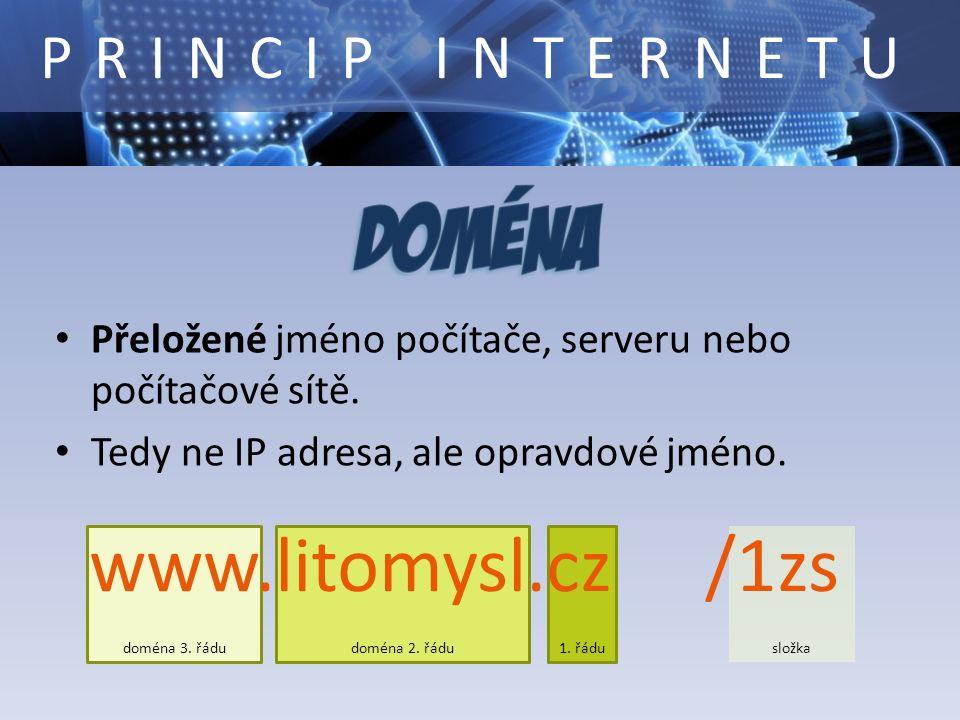 složka doména 3. řádudoména 2. řádu1. řádu Přeložené jméno počítače, serveru nebo počítačové sítě. Tedy ne IP adresa, ale opravdové jméno. www.litomys