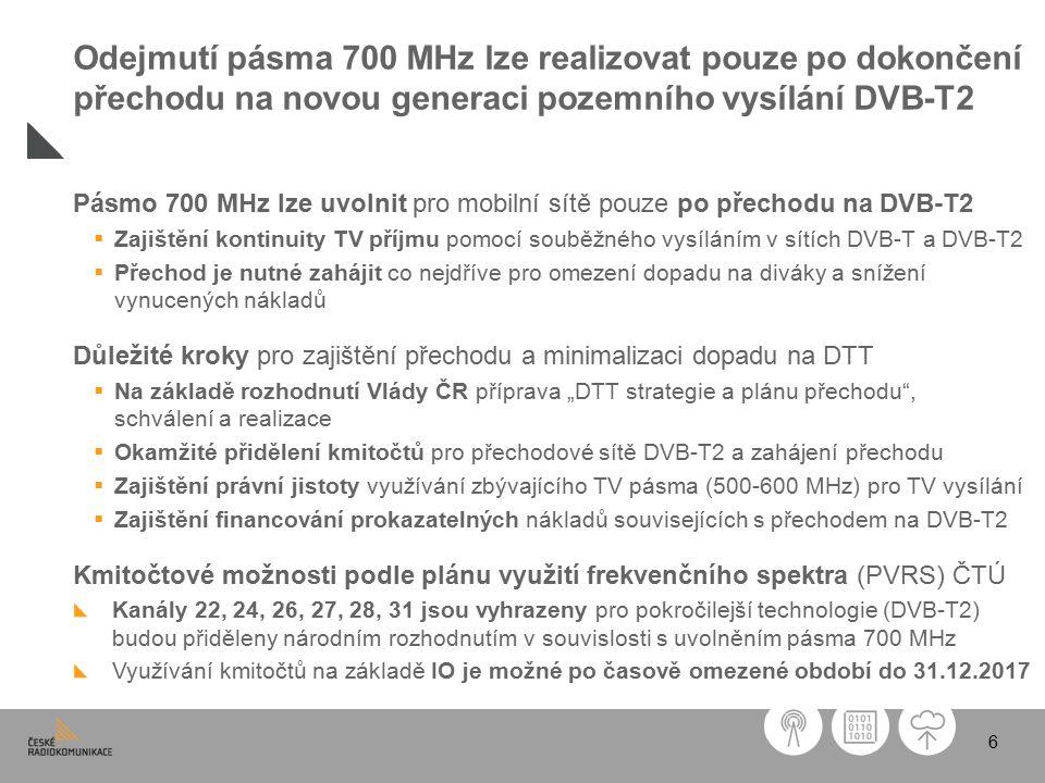 """6 Pásmo 700 MHz lze uvolnit pro mobilní sítě pouze po přechodu na DVB-T2  Zajištění kontinuity TV příjmu pomocí souběžného vysíláním v sítích DVB-T a DVB-T2  Přechod je nutné zahájit co nejdříve pro omezení dopadu na diváky a snížení vynucených nákladů Důležité kroky pro zajištění přechodu a minimalizaci dopadu na DTT  Na základě rozhodnutí Vlády ČR příprava """"DTT strategie a plánu přechodu , schválení a realizace  Okamžité přidělení kmitočtů pro přechodové sítě DVB-T2 a zahájení přechodu  Zajištění právní jistoty využívání zbývajícího TV pásma (500-600 MHz) pro TV vysílání  Zajištění financování prokazatelných nákladů souvisejících s přechodem na DVB-T2 Kmitočtové možnosti podle plánu využití frekvenčního spektra (PVRS) ČTÚ Kanály 22, 24, 26, 27, 28, 31 jsou vyhrazeny pro pokročilejší technologie (DVB-T2) budou přiděleny národním rozhodnutím v souvislosti s uvolněním pásma 700 MHz Využívání kmitočtů na základě IO je možné po časově omezené období do 31.12.2017 Odejmutí pásma 700 MHz lze realizovat pouze po dokončení přechodu na novou generaci pozemního vysílání DVB-T2"""