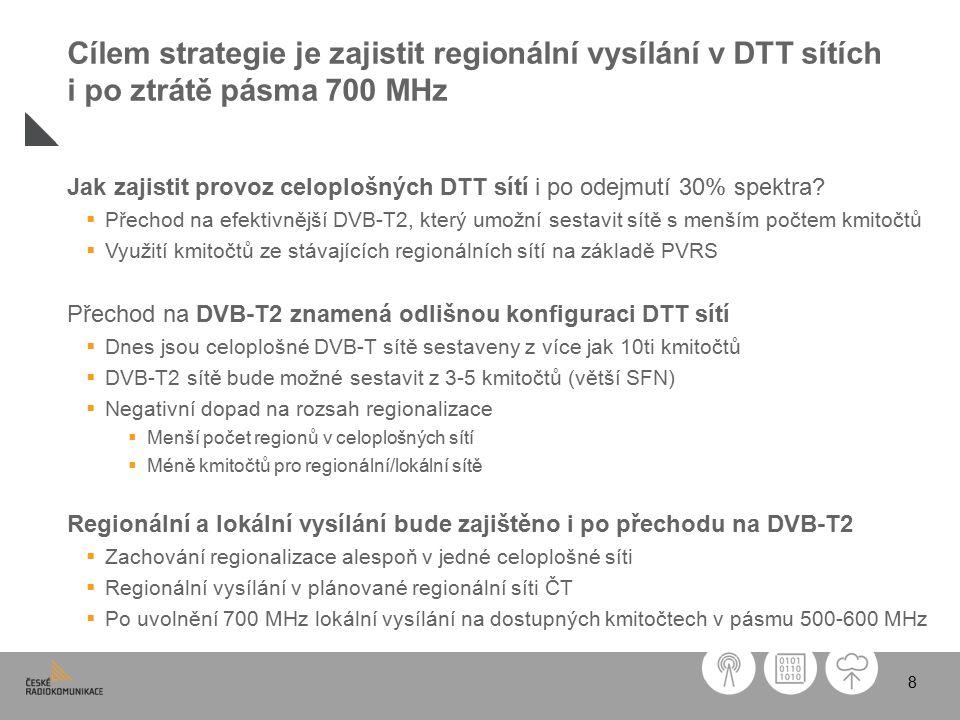 8 Jak zajistit provoz celoplošných DTT sítí i po odejmutí 30% spektra.