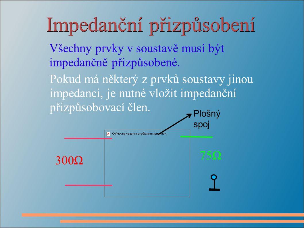 Impedanční přizpůsobení Všechny prvky v soustavě musí být impedančně přizpůsobené.