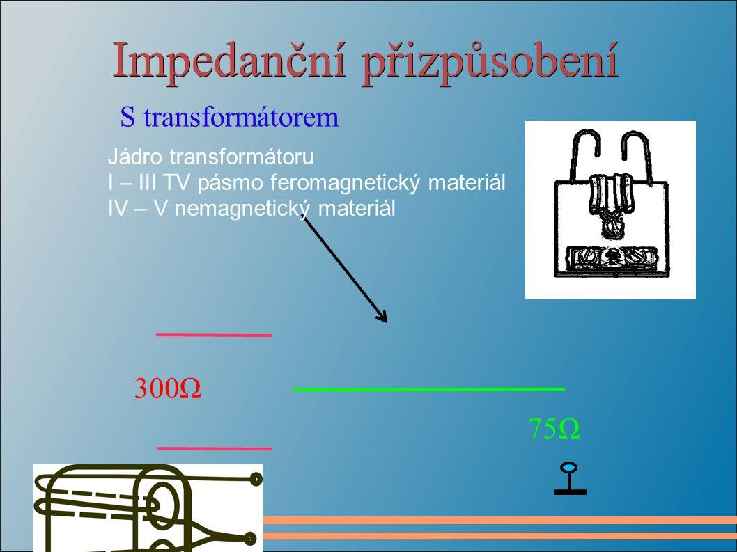 Impedanční přizpůsobení S transformátorem 300Ω 75Ω Jádro transformátoru I – III TV pásmo feromagnetický materiál IV – V nemagnetický materiál