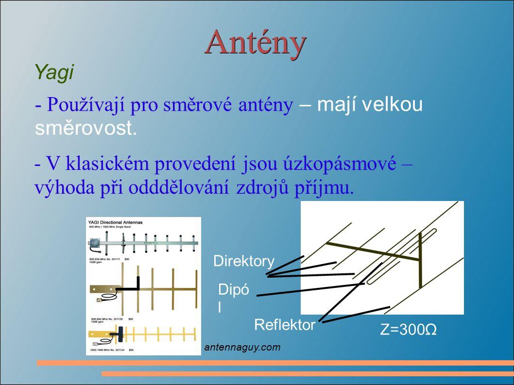 Antény Yagi - Používají pro směrové antény – mají velkou směrovost. - V klasickém provedení jsou úzkopásmové – výhoda při odddělování zdrojů příjmu. Z