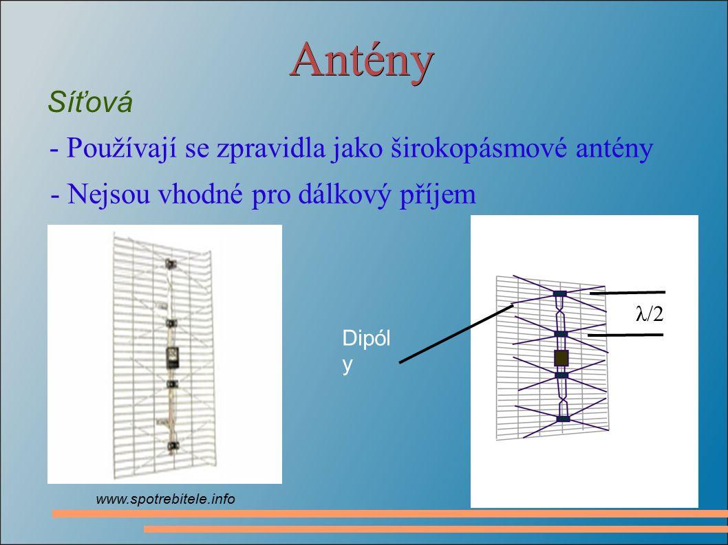 Antény Síťová - Používají se zpravidla jako širokopásmové antény - Nejsou vhodné pro dálkový příjem www.spotrebitele.info λ/2 Dipól y