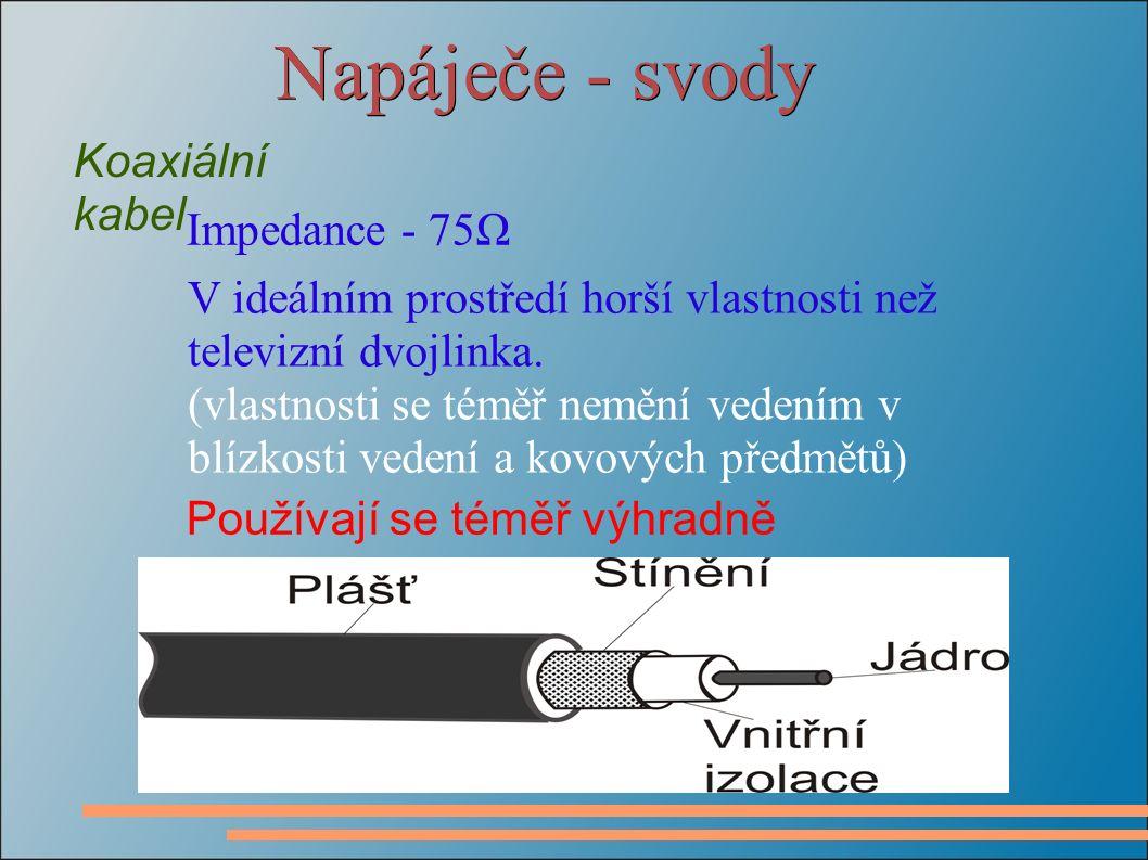Napáječe - svody Koaxiální kabel Impedance - 75Ω V ideálním prostředí horší vlastnosti než televizní dvojlinka. (vlastnosti se téměř nemění vedením v