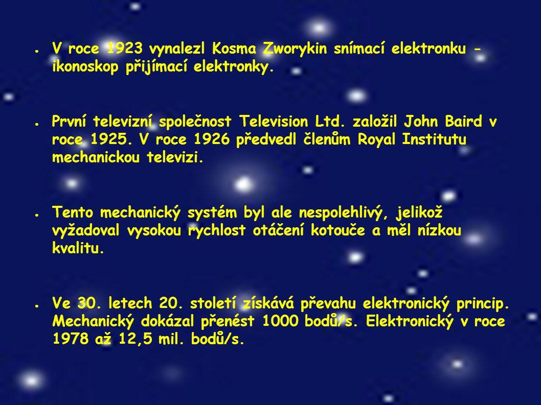 ● V roce 1923 vynalezl Kosma Zworykin snímací elektronku - ikonoskop přijímací elektronky.