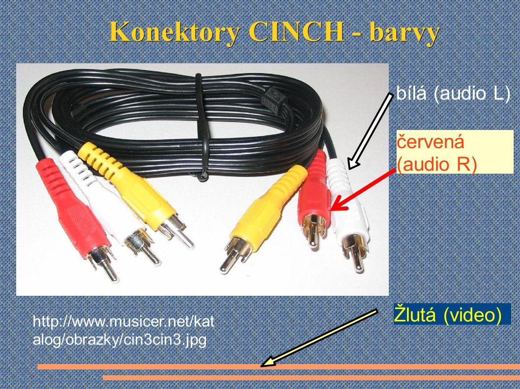 http://www.musicer.net/kat alog/obrazky/cin3cin3.jpg červená (audio R) bílá (audio L) Žlutá (video)
