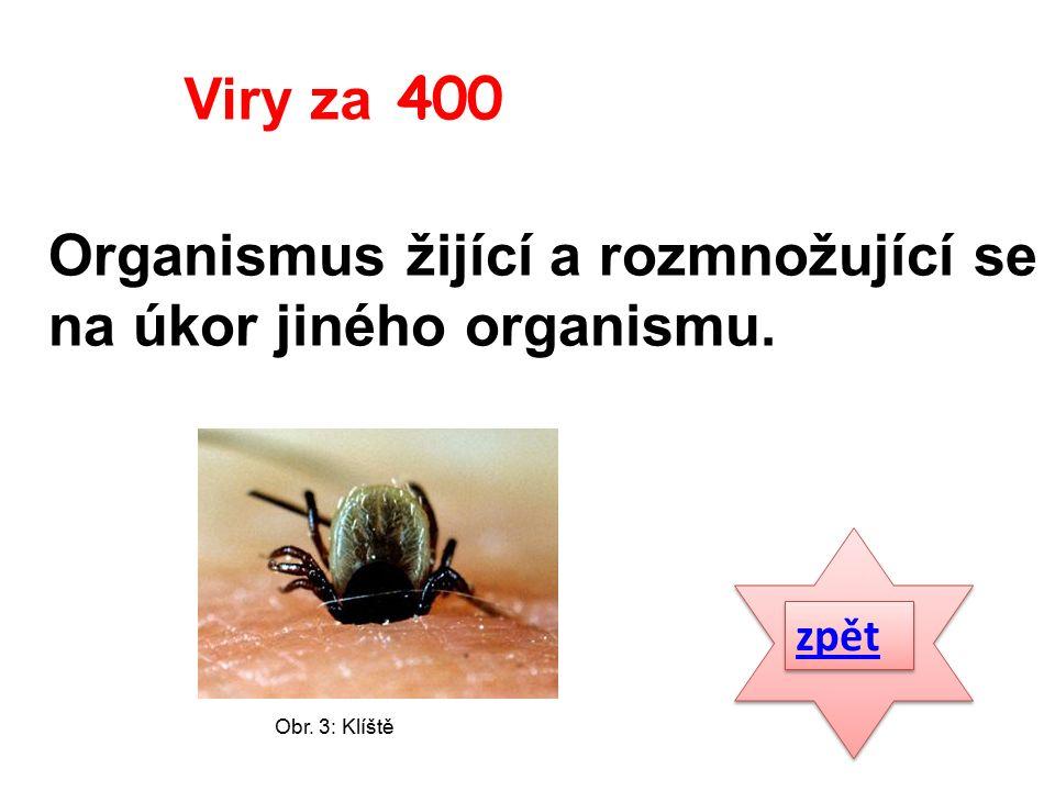 Organismus žijící a rozmnožující se na úkor jiného organismu. zpět Viry za 400 Obr. 3: Klíště
