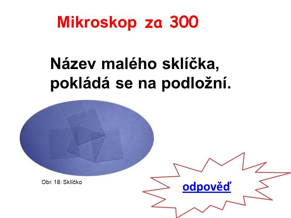 Mikroskop za 300 odpověď Název malého sklíčka, pokládá se na podložní. Obr. 18: Sklíčko