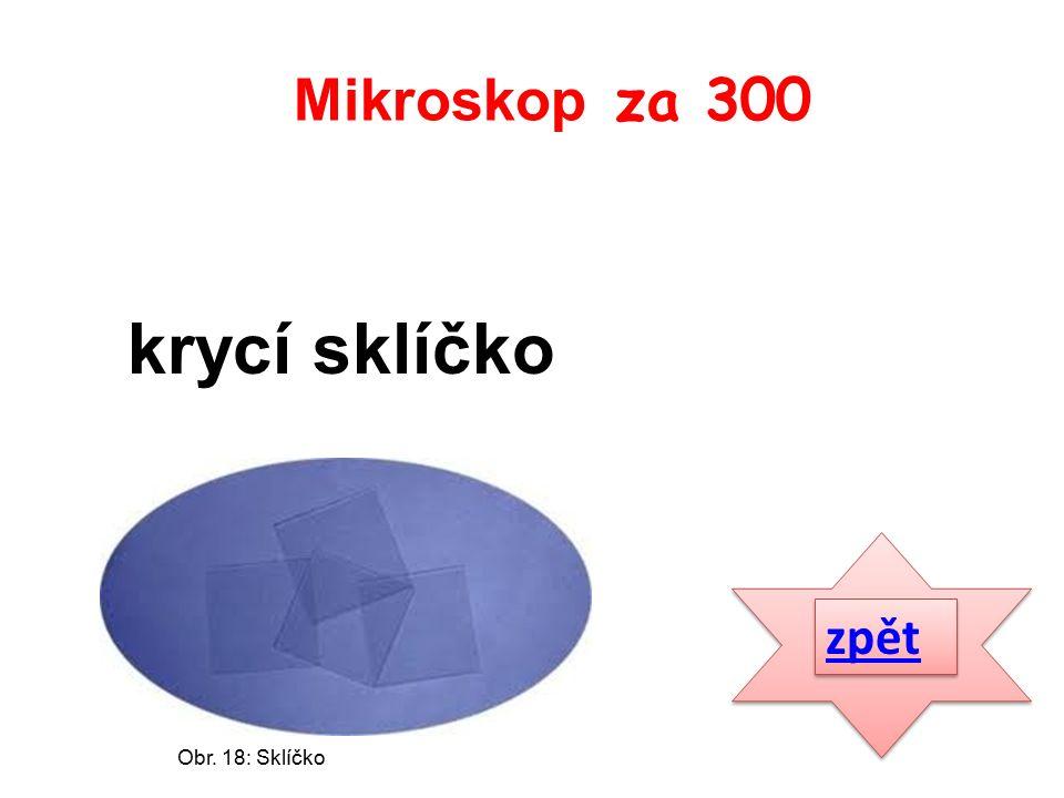 zpět krycí sklíčko Mikroskop za 300 Obr. 18: Sklíčko