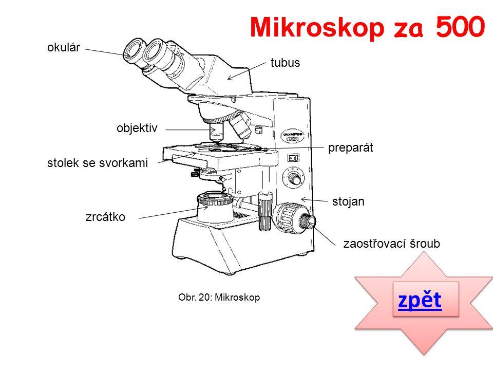 zpět okulár tubus objektiv stolek se svorkami preparát stojan zrcátko zaostřovací šroub Mikroskop za 500 Obr.