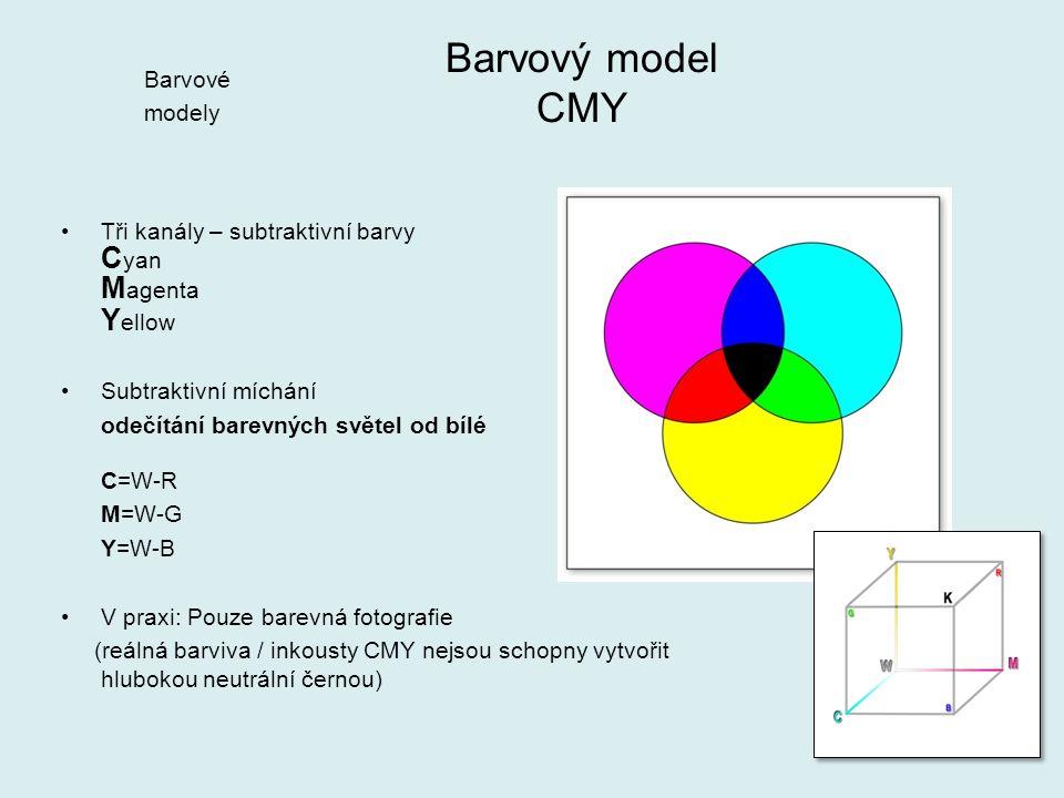 Tři kanály – subtraktivní barvy C yan M agenta Y ellow Subtraktivní míchání odečítání barevných světel od bílé C=W-R M=W-G Y=W-B V praxi: Pouze barevn