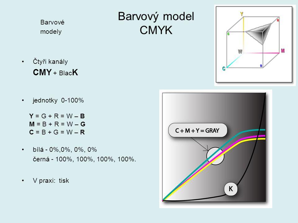 Čtyři kanály CMY + Blac K jednotky 0-100% Y = G + R = W – B M = B + R = W – G C = B + G = W – R bílá - 0%,0%, 0%, 0% černá - 100%, 100%, 100%, 100%.