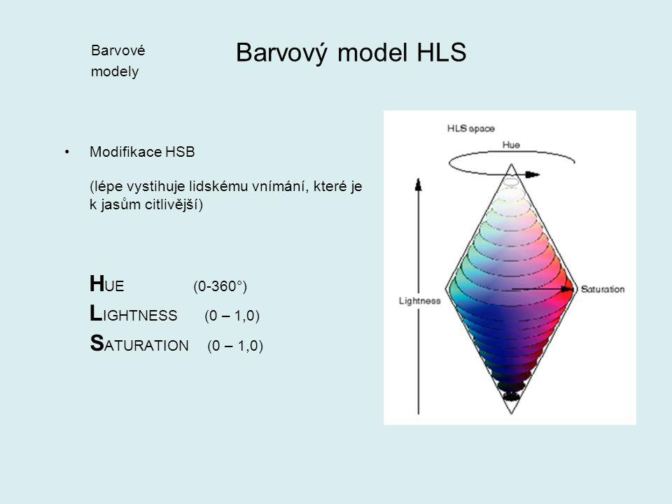 Modifikace HSB (lépe vystihuje lidskému vnímání, které je k jasům citlivější) H UE (0-360°) L IGHTNESS (0 – 1,0) S ATURATION (0 – 1,0) Barvový model HLS Barvové modely
