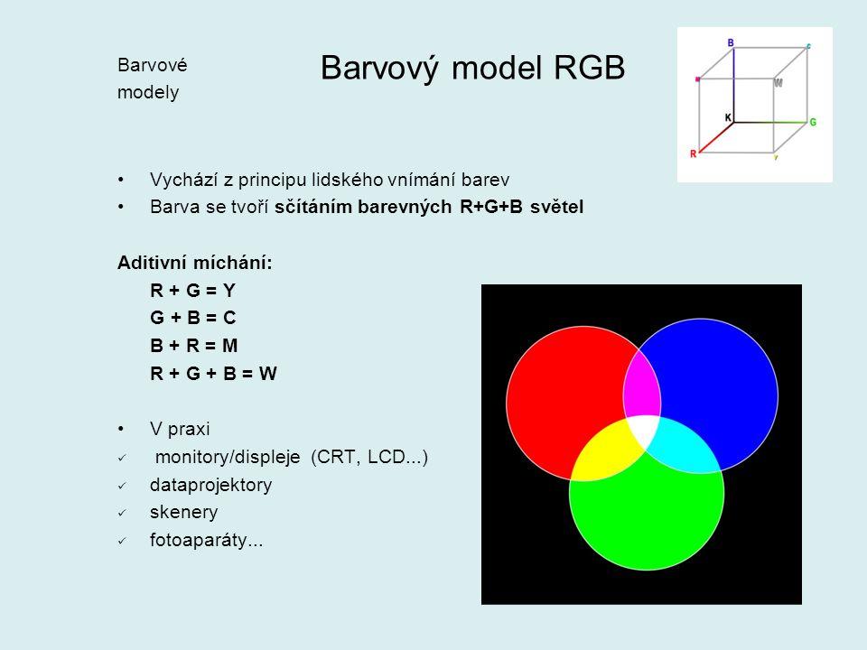 Barvový model RGB Vychází z principu lidského vnímání barev Barva se tvoří sčítáním barevných R+G+B světel Aditivní míchání: R + G = Y G + B = C B + R = M R + G + B = W V praxi monitory/displeje (CRT, LCD...) dataprojektory skenery fotoaparáty...