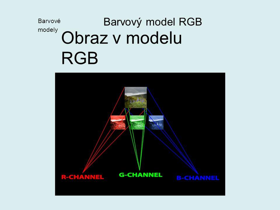 Hloubka barvy – počet úrovní, na něž je rozdělen každý kanál vyjádřený v bitech 8b na kanál = 3x8b  24b  hloubka barvy je 24b = 256 úrovní (256=2 8 =8b) na každý kanál = 256x256x256 = 16,7 M barev  TRUE COLOUR 12b na kanál=> 36b hloubka barvy= 6,87.10 10 barev 14b na kanál=> 46b hloubka barvy= 2,81.10 15 barev Barvový model RGB Barvové modely