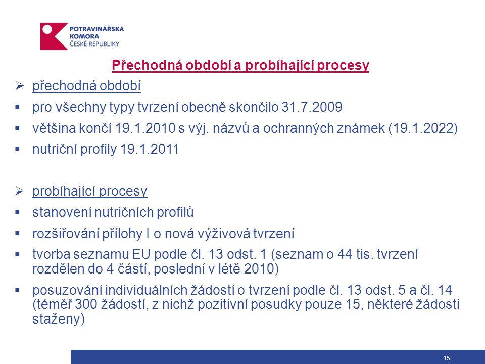 15 Přechodná období a probíhající procesy  přechodná období  pro všechny typy tvrzení obecně skončilo 31.7.2009  většina končí 19.1.2010 s výj. náz