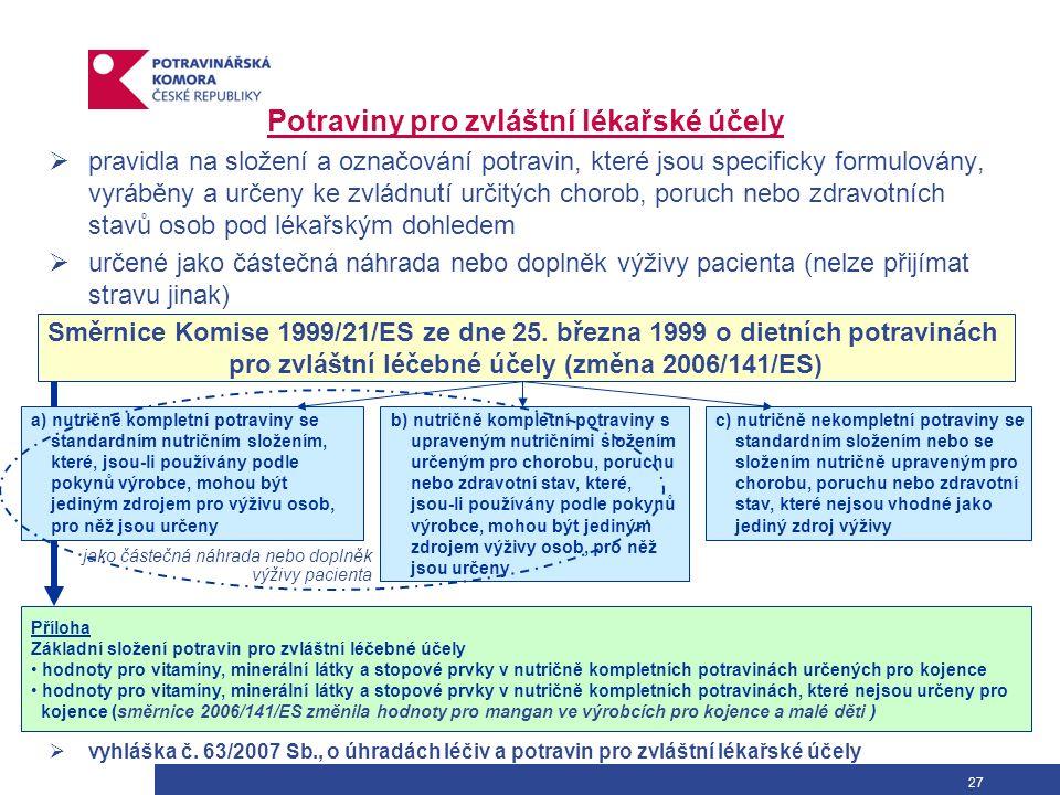 27 Potraviny pro zvláštní lékařské účely  pravidla na složení a označování potravin, které jsou specificky formulovány, vyráběny a určeny ke zvládnut
