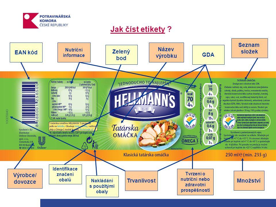 Jak číst etikety ? Výrobce/ dovozce Množství Tvrzení o nutriční nebo zdravotní prospěšnosti Název výrobku Nutriční informace Seznam složek EAN kód Trv