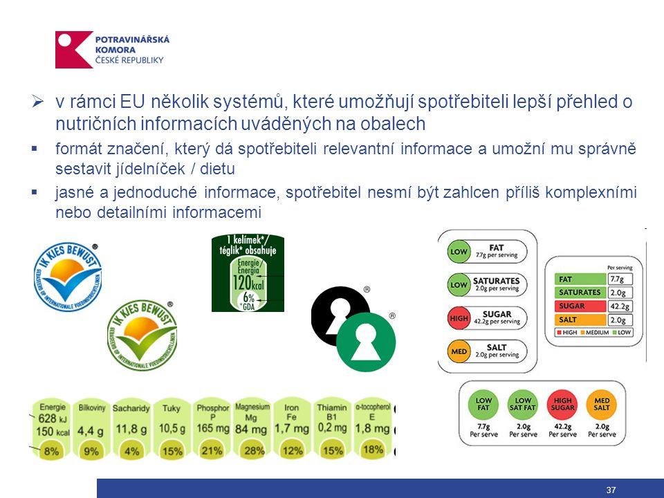 37  v rámci EU několik systémů, které umožňují spotřebiteli lepší přehled o nutričních informacích uváděných na obalech  formát značení, který dá spotřebiteli relevantní informace a umožní mu správně sestavit jídelníček / dietu  jasné a jednoduché informace, spotřebitel nesmí být zahlcen příliš komplexními nebo detailními informacemi