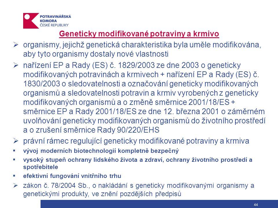 44 Geneticky modifikované potraviny a krmivo  organismy, jejichž genetická charakteristika byla uměle modifikována, aby tyto organismy dostaly nové vlastnosti  nařízení EP a Rady (ES) č.